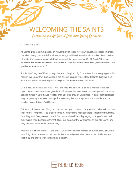 Welcoming the Saints