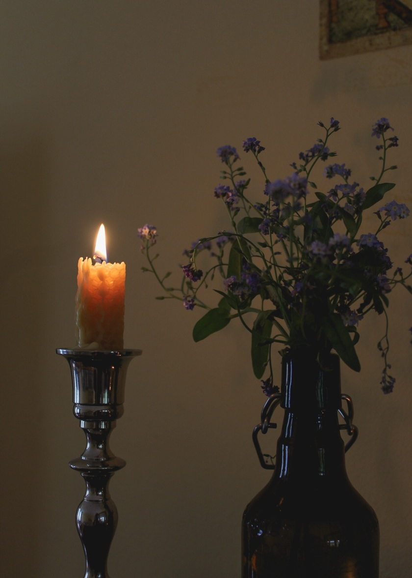 Candle and Forget-me-nots